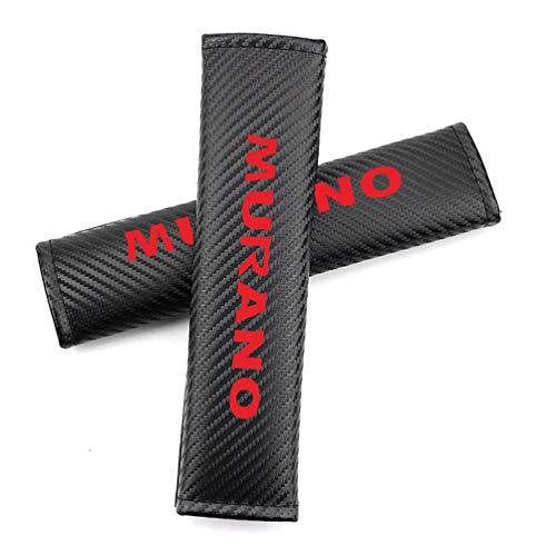 LAUTO 2 pc para cinturón de Fibra de Carbono para Hombro, Fundas de colchón Logotipo Murano Utilizado por Murano. Funda de Hombro cinturón de Seguridad Personalizada para su Modelo de automóvil,Rojo
