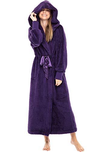Alexander Del Rossa Women's Plush Fleece Robe with Hood, Long Warm Bathrobe, Large XL Purple with Elastic Cuffs (A0269PURXL)