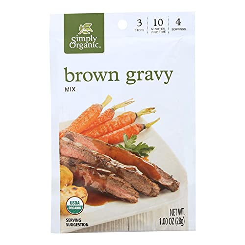 Simply Organic Vegetarian Brown Gravy, Seasoning Mix, Certified Organic, 1-Ounce Packets (Pack of 12) ( Value Bulk Multi-pack)