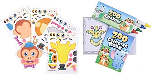 36 Piece Zoo Animal Party Favor Set- Coloring Books, Crayons, and Stickers