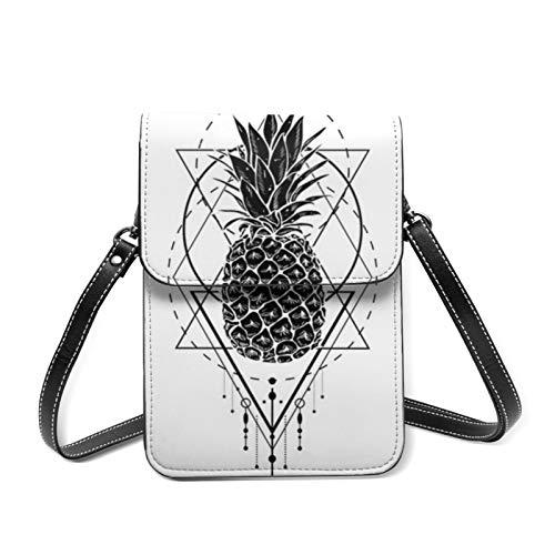Bolso bandolera negro blanco piña bolsa de teléfono pequeño teléfono móvil Crossbody monedero mini ligero cuero cruzado cuerpo celular bolsa