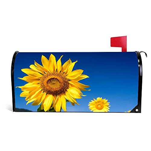 Sunflowers Blue Sky Funny Magnetic Mailbox Cover Wraps Post Box Canvas Garden Yard Home Decor for Outside