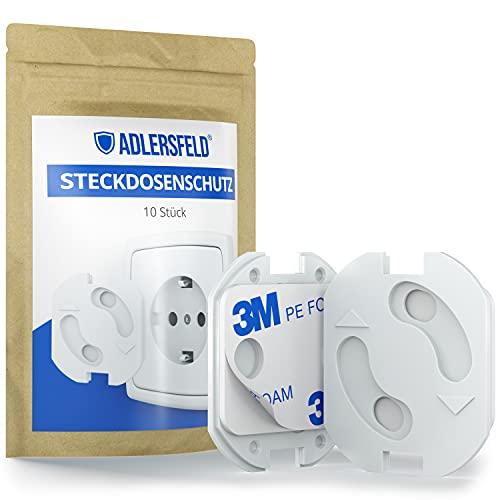 Adlersfeld® - Steckdosen Kindersicherung - [10 Stück] - Steckdosenschutz zum Kleben - Kindersicherung für Steckdose - Steckdosensicherung für Babys und Kinder
