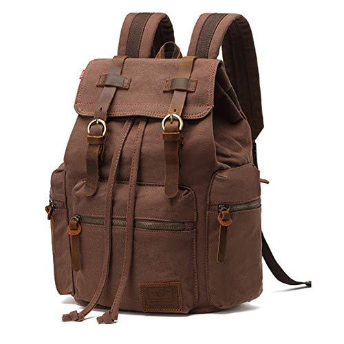 Canvas Vintage Rucksäcke, AUGUR Retro Segeltuch Backpack Wasserdicht Echtleder Laptop Daypack für Herren Damen Outdoor Sports Reise Wandern Bergsteigen
