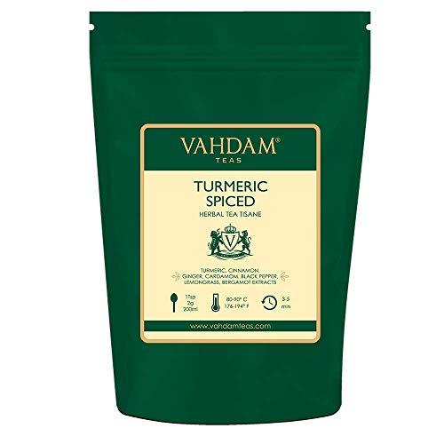 Tisane au thé aux herbes et aux épices de curcuma Tisane (100 tasses) 200gm, abondante en anti-oxydants et phyto-nutriments, curcuma à la bergamote, citronnelle, gingembre et jardin