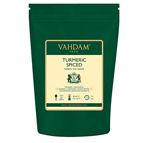 VAHDAM, Tè Chai Speziato Alla Curcuma, 200g (100 tazze), Antica Miscela Di Curcuma Medicina indiana e spezie fresche da giardino, ABBONDANTE IN ANTIOSSIDANTI | infusi e tisane | Herbal tea dall\'India