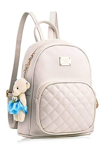 Typify PU Leather Teddy Keychain Backpack for Girls (Cream)