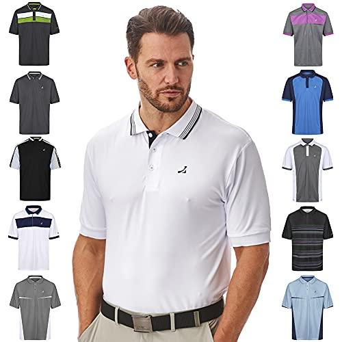 Under Par Polo de Golf para Hombre, de Calidad Profesional, Transpirable, 8 Estilos, 18 Colores, para Golf, Golf, Hombre, Polo de Golf, UPTS1874_WH/BL_L, Estilo 1874 - Blanco/Negro, L