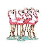 Broches de pájaros flamencos esmaltados para mujeres, pájaros rojos y morados, Animal, oficina, fiesta, broches informales, regalos