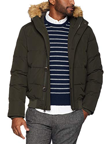 Tommy Hilfiger Men's Arctic Cloth Full Length Quilted Snorkel Jacket (Standard and Big & Tall), Deep dark forest, Large
