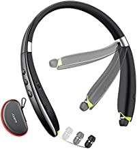 Bluetooth Headphones, Neckband Bluetooth Headset with Retractable Earbuds, 2021 Latest Foldable Wireless Earphones with Mic Noise Cancelling for Running Sports Office (with Carry Case)