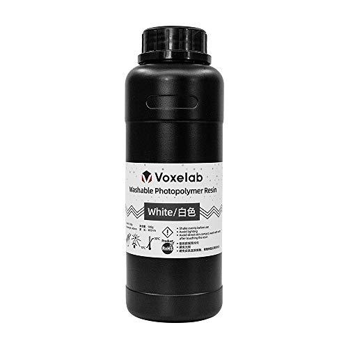 Voxelab Resina para impresora 3D, resina de lavado de agua con alta precisión y secado rápido y superficie lisa para impresión 3D LCD (blanco)