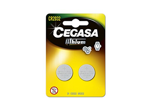 CEGASA CR2032 - Pack 2 Pilas botón Litio, Color Verde