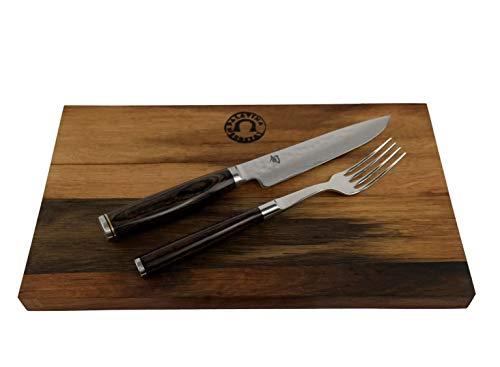 Kai Shun Premier Tim Mälzer TDM-0907 Set de couverts avec couteau à steak avec fourchette et planche à découper en bois massif 25 x 15 cm