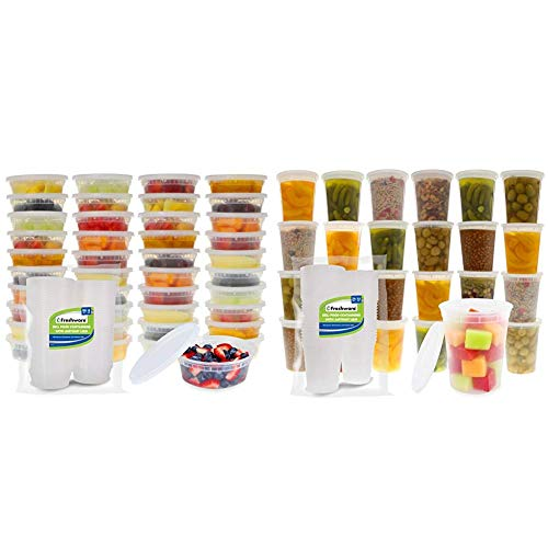 Freshware Food Storage Containers [50 Set] 8 oz Plastic Deli Containers with Lids, Slime, Soup, Meal Prep Containers & Food Storage Containers [24 Set] 32 oz Plastic Deli Containers