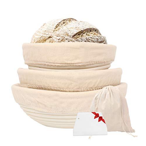 Gesentur Gärkörbchen rund, 3 Gärkörb für Brot Backen, Natürlichem Peddigrohr (rund | 20, 22, 25cm) mit Leineneinsatz, Teigschaber, Brottasche