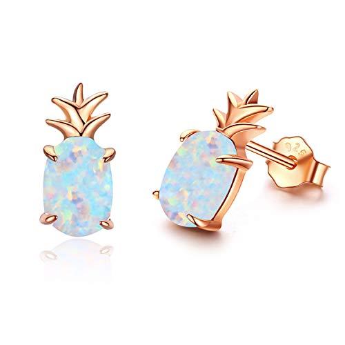 Ohrringe Mädchen Ohrstecker Rosegold Ananas Ohrringe Damen Opal Schmuck Geschenke für Frauen Kinder (D-Rosegold Ananas)