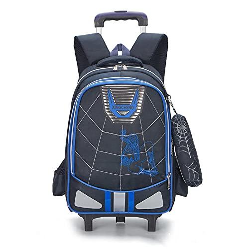 ZZLHHD Trolley School Bag,Trend rod bag, two-purpose backpack-Blue B,Cartoon Trolley Backpack
