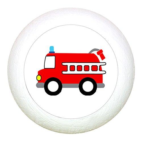 """Möbelknauf""""Feuerwehrauto"""" weiss Holz Buche Kinder Kinderzimmer 1 Stück Fahrzeuge Transportfahrzeuge Traum Kind"""