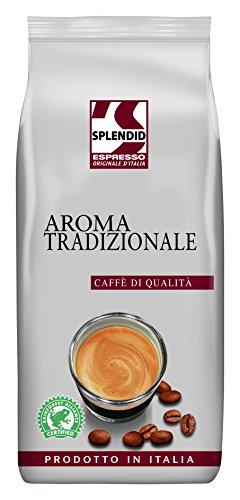 Splendid Espresso Originale d'Italia Tradizionale, 1kg Kaffeebohnen, ganze Bohne, intensiver Espresso mit kräftigem Geschmack, auch für Cappuccino + Latte Macchiato