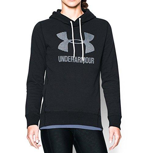 Under Armour Women's Sportstyle Favorite Fleece Hoodie, Black (001)/White, Large