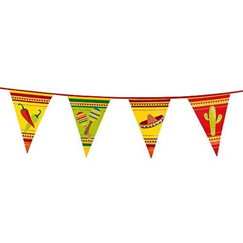 Boland 54400 - Wimpelkette Fiesta, Länge 6 m, Mexiko, Hängedekoration, Girlande, Geburtstag, Partydekoration, Partygeschirr, Motto Party, Karneval