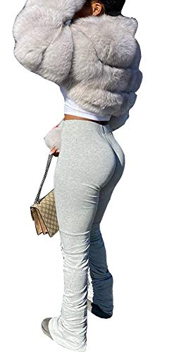 Womens Solid Color Drawstring Flare Bell Bottom Yoga Pant Trousers Split Ruched Workout Jogging Pants