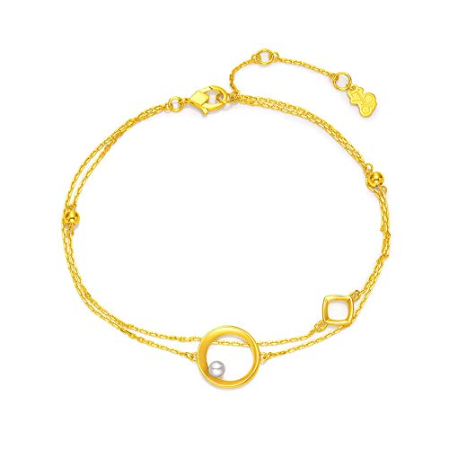 Gems.RDX 22K Yellow Gold Bracelets for Women, Real Gold Adjustable Bracelet, Double Layer Chain Link Bangle