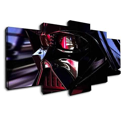 GHYTR 5 Piezas Darth Vader Reflection Star WA Impresión De La Lona Pintura Arte De La Pared Cartel Moderno Decoración del Hogar Sala De Estar Imágenes Navidad Regalos 150X80Cm