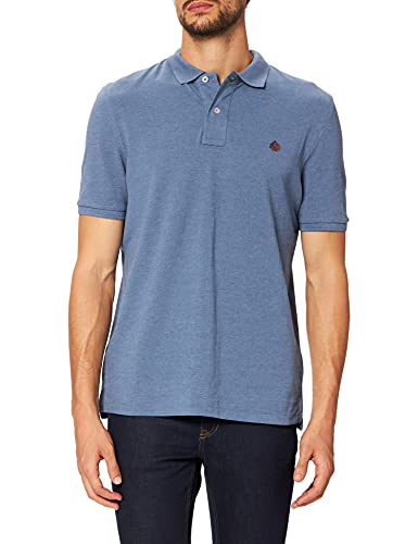 Springfield Polo orgánico Manga Corta Camiseta, Azul Medio, M para Hombre