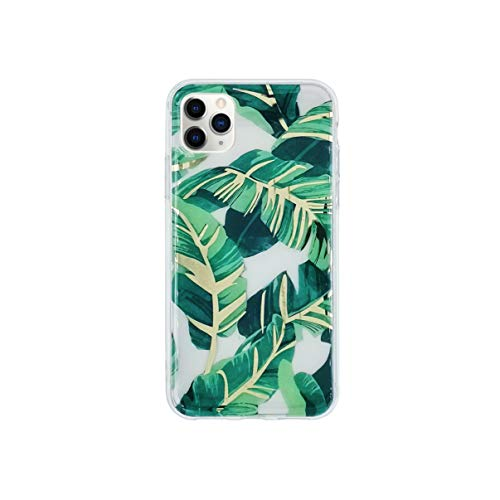 HolaStar Tropical Case Compatible with iPhone 12 Pro Max, Ultra Thin Glossy Green Palm Leaves with Gold Stem Clear Girly Design Protective Cell Phone Cover