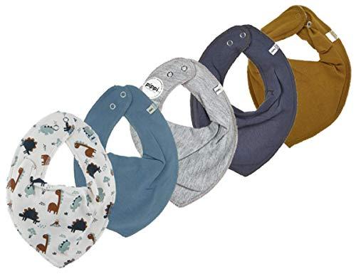 Pippi 4er Set ~ zur Auswahl ~ Baby Dreieckstuch Halstuch 4 Stück Organic Cotton + 1 GRATIS Tuch ~ 5er Pack (steingrau-hellgrau-jeansblau-Dinos auf creme& Muster)