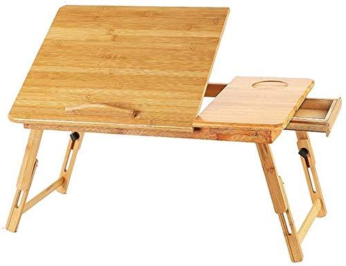 ZXL Laptop Lap bureau, klapbed tafel eenvoudig tillen massief hout voor leren ontbijt met lade (kleur: B)