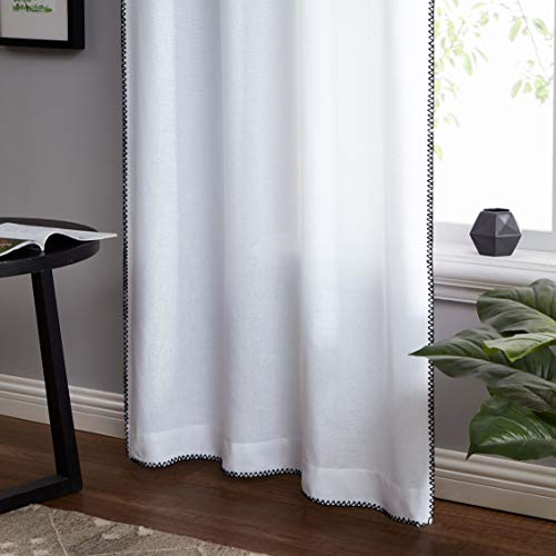 """SXZJTEX White and Black Semi Sheer Curtains Chainstich Border Edge Linen Texture Window Treatment-Rod Pocket Rustic Farmhouse Drapes for Bedroom & Living Room,40"""" x 80"""", 2 Panels"""