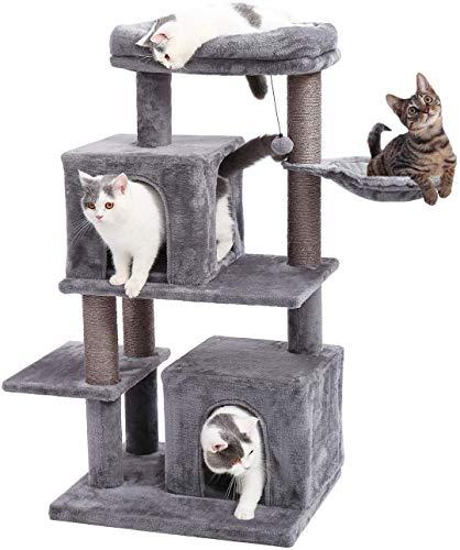 Eono by Amazon Kratzbaum Katzenbaum Katzenkratzbaum Kratzbäume mit 2 Plüsch Kuschelhöhle Sisalstamm Liegemulde Spielzeug Ball für Katzen Kätzchen Grau
