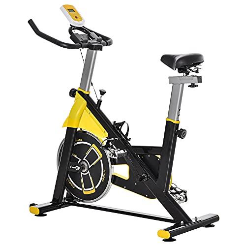 homcom Cyclette da Camera con Schermo LCD, Supporto per Tablet, Cyclette Professionale Resistenza Regolabili, Bicicletta da Allenamento Casa Ufficio, Volano 6kg