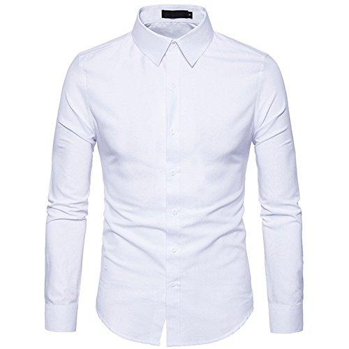 Tobaling Homme Chemise à Manches Longues Denim Business Casual Affaires Loisir Repassage Facile (Blanc, L)