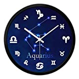 DIEFMJ Relojes de Pared Reloj de Pared de 12 Constelaciones Reloj de Pared de Barrido silencioso Relojes Redondos Sala de Estar Reloj de Cuarzo Reloj de Cuarzo (Color: Acuario, Tamaño: 14 Pulgadas)