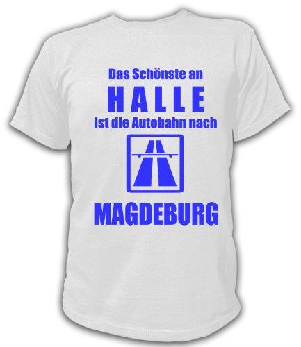Artdiktat T-Shirt Anti Halle Pro Magdeburg Unisex, Größe L, weiß