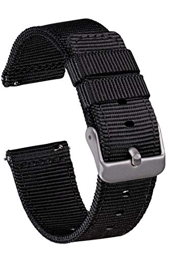 GadgetWraps 20mm Gizmo Watch Nylon Watch Band with Quick Release Pins – Compatible with Gizmo Watch, Samsung, Pebble – 20mm NATO Watch Band (Black, 20mm)