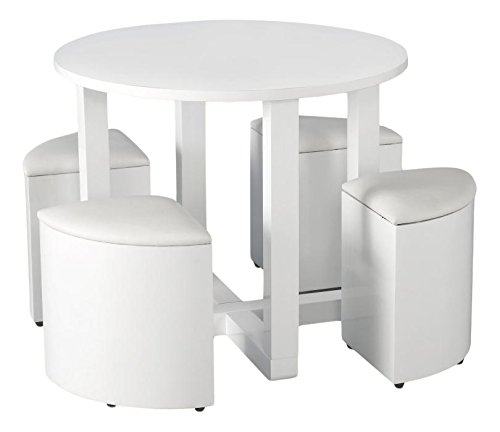 Seconique Charisma Stowaway Dining Set, Wood, White Gloss/White Faux Leather, 729.95 x 739.95 x 509.95 cm