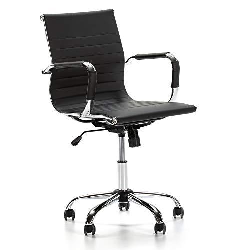 VS Venta-stock Sillón de Oficina Croma reclinable Negro, Piel sintética, Silla ejecutiva con repos