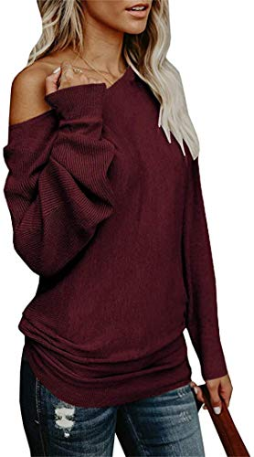 Umeko Womens Off The Shoulder Sweater Oversized Knit Long Sleeve Sweaters Tunic Tops Burgundy
