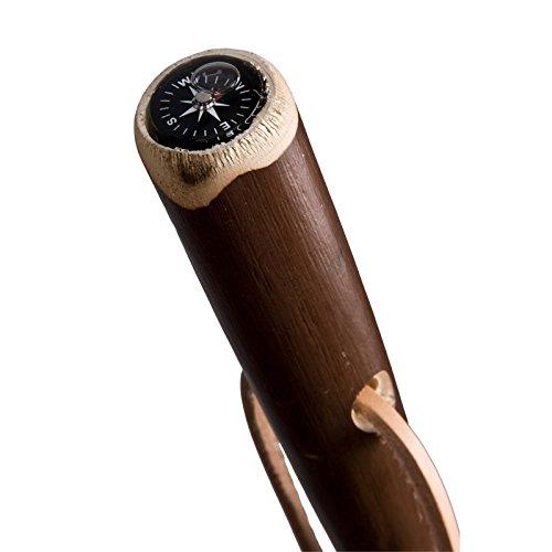 Wooden Walking Stick Chestnut Brown Marschierer gebeitzt and Compass with Leather Strap by Stock-Fachmann