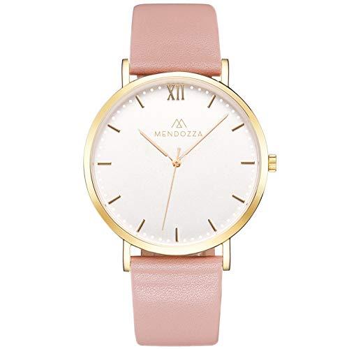 Mendozza Damen Uhr White Moon Damenuhr Leder Flache Armbanduhr Schweizer Uhrwerk Saphirglas Weiß 40 mm Gold/Rosa (MW-RG0200H-PL)