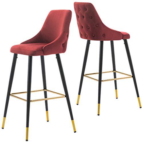 2X Barhocker Barstuhl aus Stoff Samt Gestell aus Metall Tresenhocker Bar Sessel gut gepolstert mit Lehne Farbauswahl Duhome 5170G, Farbe:Rot, Material:Samt