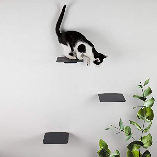 LucyBalu Katzentreppe Steps 3er Set I Individuelle Kletterwand für Katzen bis 10 kg I Kletterstufen mit 18 x 18 cm je Stufe (Anthrazit ohne Korkauflagen)