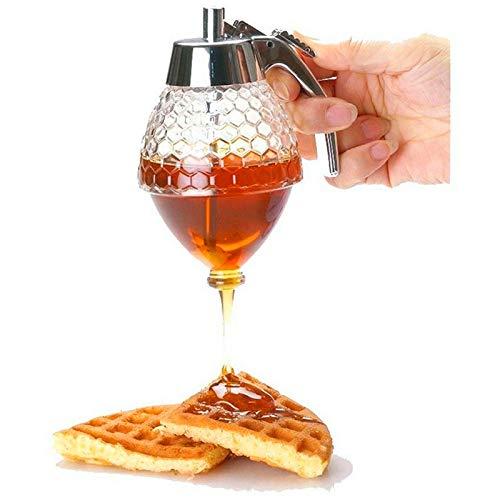 Tokenhigh Dispensador de miel acrílico transparente Shake handshandle dispensador de jugo, jarabe de miel botella de goteo contenedor tarro libre de BPA 200 ml