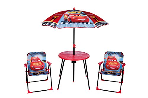 Global Industry Ensemble de Jardin pour enfants Cars Table + 2 chaises + Parasol, Rouge