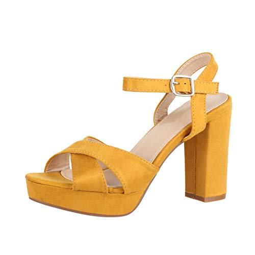 Elara Damen Pumps Bequeme Peep Toe Pumps Trendige Plateau High Heels Chunkyrayan YL96094 Yellow-37
